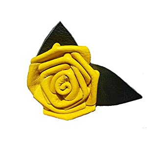 Leather Rose Flower YELLOW - all leather - wire stem - Made in USA 115