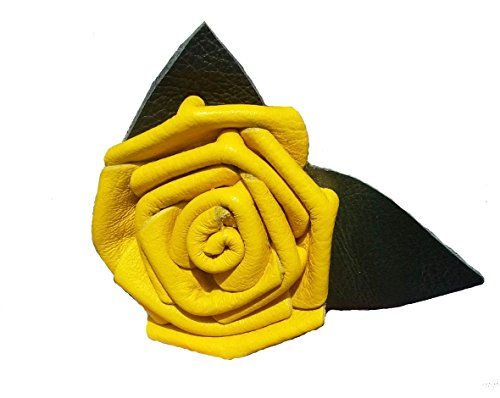 (Leather Rose Flower YELLOW - all leather - wire stem - Made in)