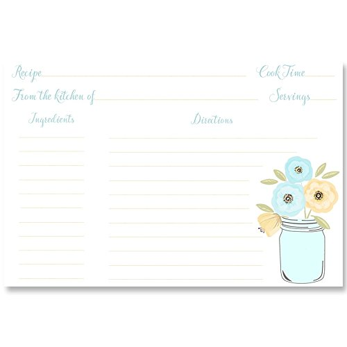 Recipe Cards, Double Sided, 4 x 6, Mason Jar Bridal Shower, Aqua, Yellow, Wedding, Rustic, Country, Chic, Shabby, Vintage, 24 Printed Cards,,