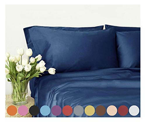 Swan Comfort Microfiber 4-Piece Bed Sheet Set - Full, Navy Blue