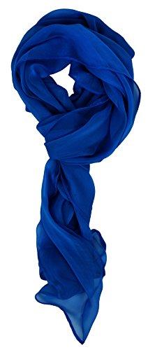 Love Lakeside Modern Chiffon Solid Color Silk Blend Oblong Scarf Cobalt Blue