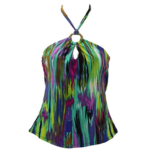 Top Halter Ring Tankini (Apt. 9 Multicolored Ring Halter Tankini Top for Women (6))