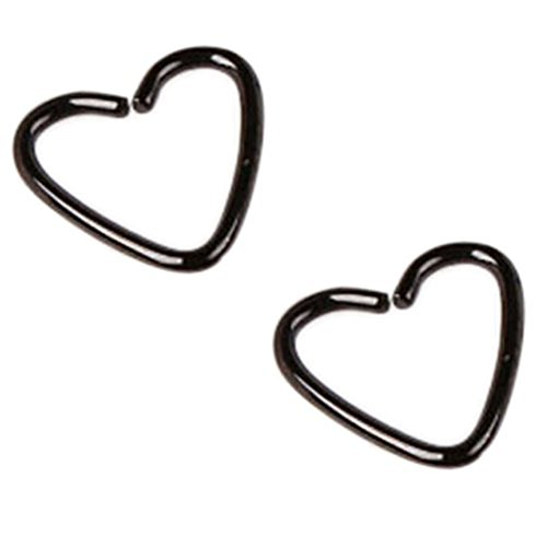 Assorted 2pcs 16g 1/2'' Heart 316l Seamless Daith Cartilage Earring Hoop A+ Piercing Jewelry