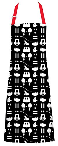 Best Brands Disney Cotton Apron - Mickey Mouse Icon, Black - Keep Cute, Clean Comfortable During All Your Cooking Experiences