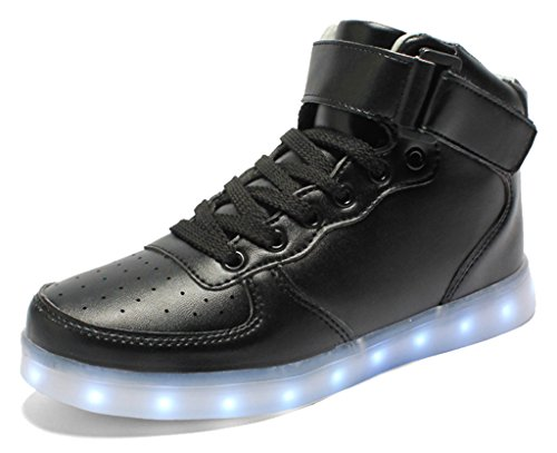 Classic Twenty Eight Light (IOO Kid Classic High Top Light Up Shoe For Girl Boy Non Slip Light Sneaker Black Little Kid 28)