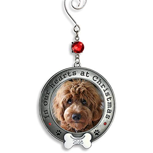 BANBERRY DESIGNS Dog Memorial Ornament - 2018 Dated in Our Hearts at Christmas - Picture Holder with White Dog Bone