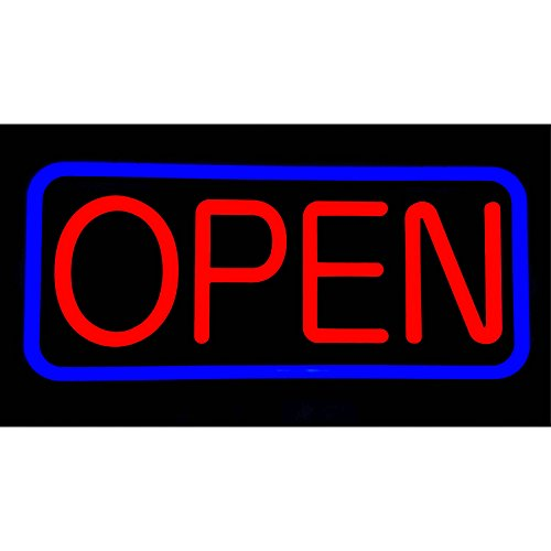 MaxLit 21'' X 10'' New Ultra Bright LED Neon Sign - Open - Remote Controlled (Blue/Red)]()