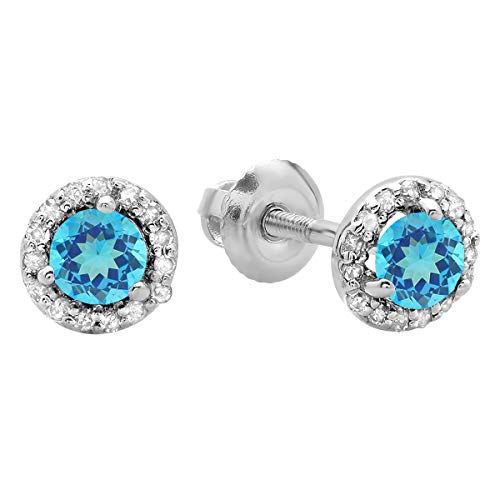 Dazzlingrock Collection 0.50 Carat (ctw) 14K Round Blue Topaz & White Diamond Ladies Halo Style Stud Earrings 1/2 CT, White Gold ()