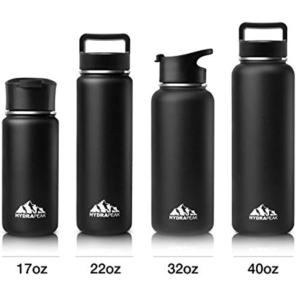 TARI Stainless Steel Water Bottle Wide Mouth with Carry Cap Double Wall Vacuum Insulated Sport Cap