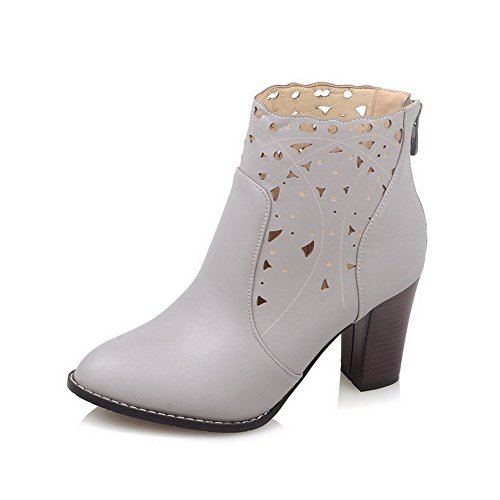 Closed Women's Solid Zipper High Gray Soft Heels Toe WeiPoot Boots Pointed Material dZXTqTw