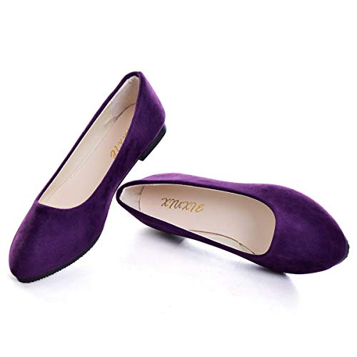 Pointy Toe Shoes Women Solid Ballet Flats Comfort Solid Flat Shoes for Work Slip On Moccasins Purple 42