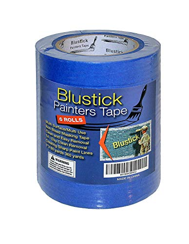 Blue Painters Tape | Medium Adhesive | 14 Day Clean Release Masking Tape | No Residue | DIY or Professional Painter | 6 Pack, 1 Inch x 60 Yard Length, 360 Yards in Total ... (6 Rolls)