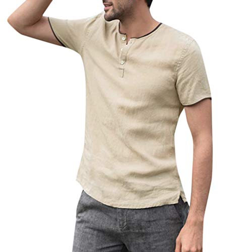 iHPH7 Shirts for Men Short Sleeve Button Down Work Casual Shirt Baggy Solid Button Plus Size T Shirt Tops Blouse (L,Khaki)