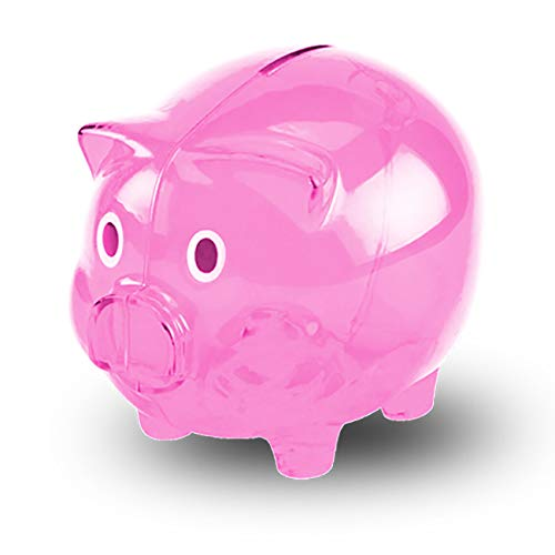 Transparent Cute Piggy Bank, Makes a Perfect Unique Gift, Nursery Decor, Keepsake, or Savings Piggy Bank for Kids Pink ()