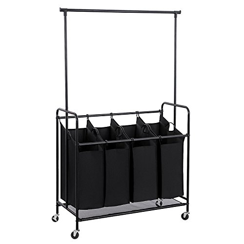 HollyHOME 4-Bag Rolling Laundry Sorter Cart with Hanging Bar, Heavy-duty Wheels with Large Bags,Black