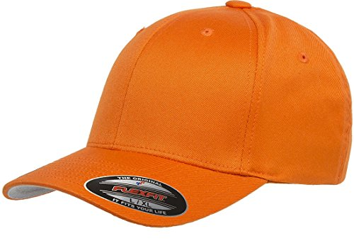 Original Flexfit Wooly Cotton Twill Cap 6277, Stretch Fit Baseball Cap w/Hat Liner S/M Orange