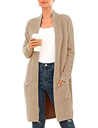 Women's Casual Open Front Knit Cardigans Long Sleeve Plush Sweater Coat with Pockets