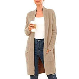 QIXING Women's Casual Open Front Knit Cardigans Long Sleeve Plush Fuzzy Sweater Coat with Pockets