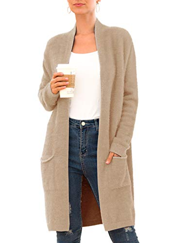 QIXING Women's Casual Open Front Knit Cardigans Long Sleeve Plush Sweater Coat with Pockets Khaki-S