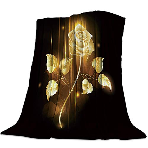 YOUNGKIDS Gold Rose Soft Throw Blankets for Bed Couch Living Room Twin Beautiful Flowers Black Cozy Plush Fleece Lightweight Throws Cover Bedding Blanket