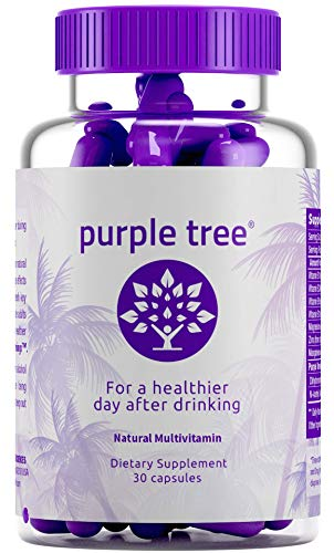 Purple Tree Hangover Cure & Prevention Pills | Dihydromyricetin (DHM), N-Acetyl L-Cysteine NAC, Willow Bark, Vitamin B | Promote Liver Health | Made in California