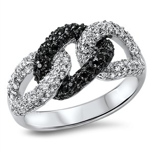 925 Sterling Silver Cubic Zirconia Promise Knot 3 Link Ring 11MM Size (3 Link Ring)