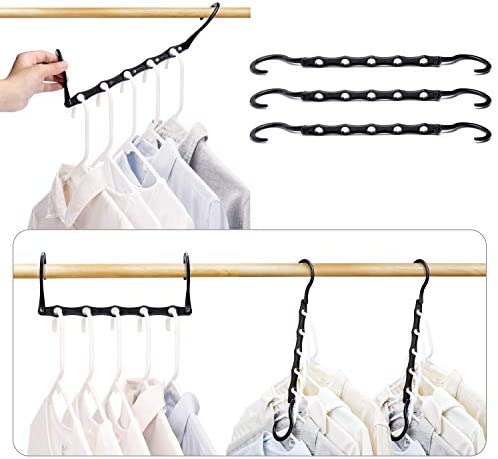 HOUSE DAY Black Magic Hangers Space Saving Clothes Hangers Organizer Smart Closet Space Saver Pack of 16 with Sturdy Plastic for Heavy Clothes