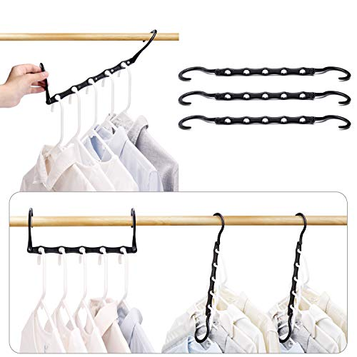 HOUSE DAY Black Magic Hangers Space Saving Clothes Hangers Organizer Smart Closet Space Saver Pack of 10 with Sturdy Plastic for Heavy Clothes