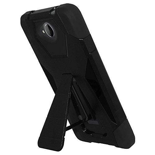 AMZER Dual Layer Hybrid Kickstand Case Skin for Microsoft Lumia 650 - Retail Packaging - Black