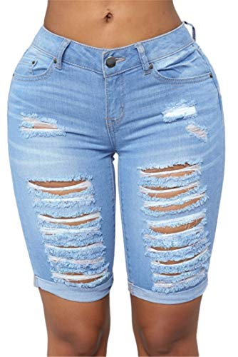 FEESON Women's Summer Turn Up Cuffs Above-Knee Length Destroyed Ribbed Jeans Shorts Light Blue