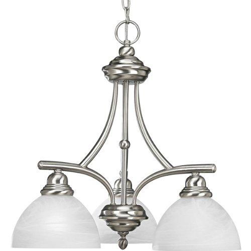 Progress Lighting P4086-09 3-Light Chandelier with White Alabaster Glass, Brushed - Light Brushed Nickel Three Glendale