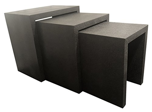 Empire Art Direct EXL-1006-01BLK Nesting Console Tables (Set of 3), 24 in. X 16 in. X 24 in in, Black Metallic Shagreen