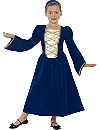 Smiffys Children's Tudor Princess Girl Costume, Dress and Headband, Color: Blue, Ages 10-12, Size: Large, 44013