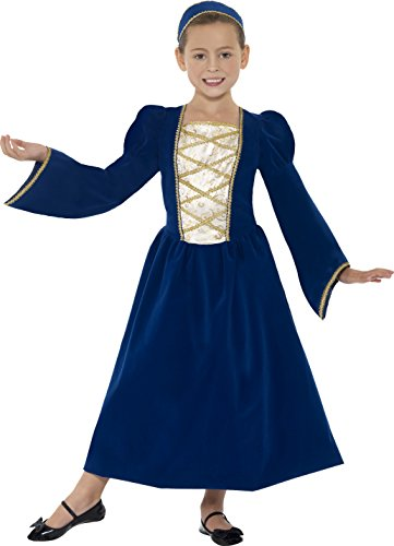 Childs Tudor Costumes (Smiffy's Children's Tudor Princess Girl Costume, Dress and Headband, Color: Blue, Ages 10-12, Size: Large, 44013)