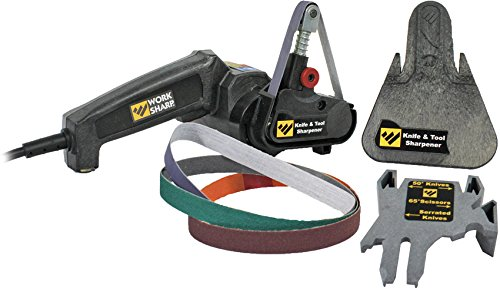 Work Sharp Knife & Tool Sharpener, Precision Sharpening Guides with Premium Abrasive Belts, Fast, Easy, Repeatable, & Consistent Results, & can Sharpen Lawn, Garden, & Bladed Shop Tools