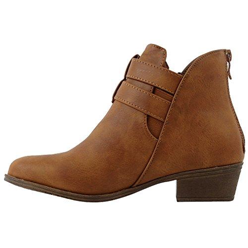 Guilty Schuhe Damen Blockabsatz Geschlossene Zehe - Riemchen Stiefeletten Tanv4 Pu