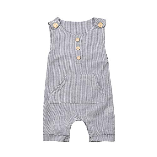 (rechange Infant Toddler Baby Boy Girl Sleeveless Button Striped Romper Shorts Bodysuit Jumpsuit (3-6 Months) Grey)