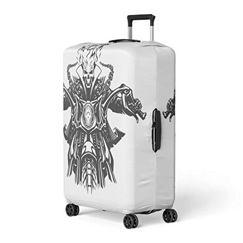 Semtomn Luggage Cover Ghost Dead Rider Skull Motorcycle Motor Motorbike Skeleton Flame Travel Suitcase Cover Protector Baggage Case Fits 26-28 Inch -