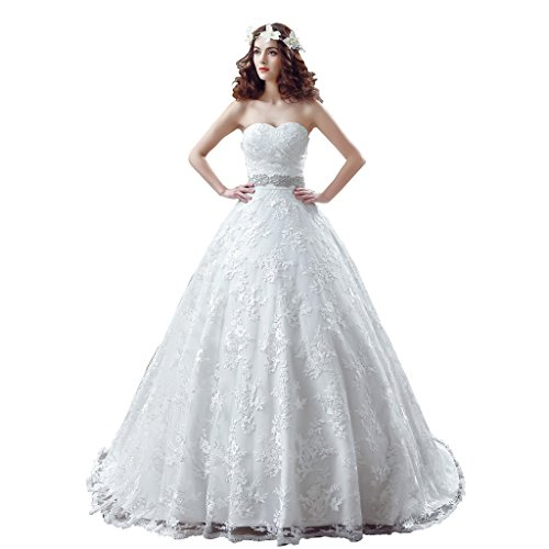 BoShi Women's Lace Sashes Beads Bride Gowns Court Train Wedding Dresses US 08 by Unknown