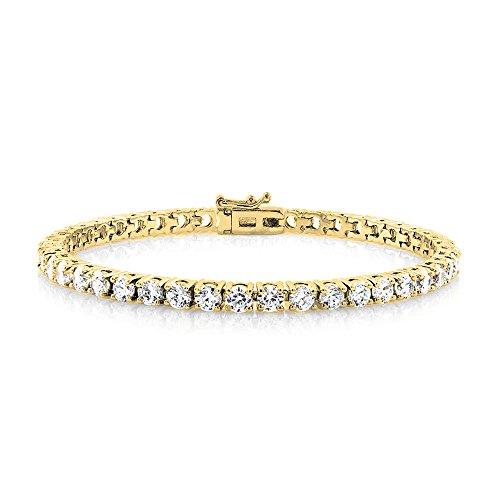 Cate & Chloe Kaylee 18k Tennis Bracelet, Womens 18k Gold Plated Tennis Bracelet w/Cubic Zirconia Crystals, 7 Sparkling Stone Bracelet for Women, CZ Wrist Wrap Bracelets