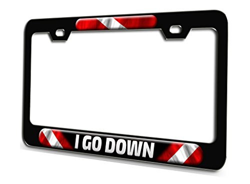 I GO DOWN Scuba Diving Black Steel License Plate Frame 3D Style