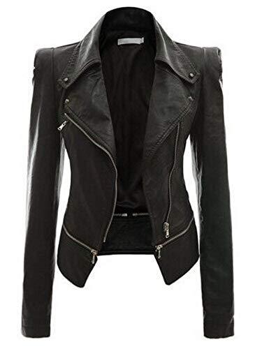 HYDSFG Autumn Women Black Faux Leather Jacket Gothic Jacket Zippers Long Sleeve Goth Zippers Female PU Jackets Black 1 M