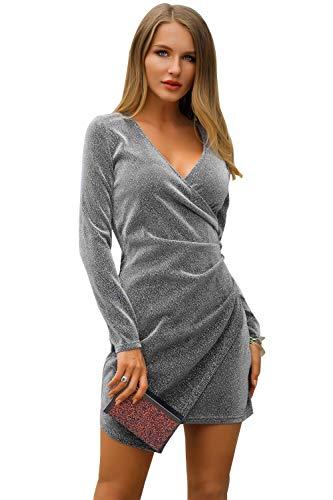 Yacun Women Bodycon Cocktail Dress V Neck Long Sleeve Mini Party Dress Silver L (Yacun Women Dress)
