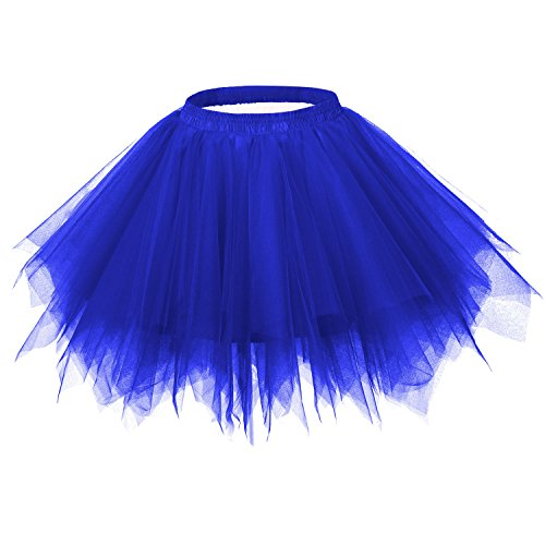 Ellames Women's Vintage 1950s Tutu Petticoat Ballet Bubble Dance Skirt Royal Blue 2XL