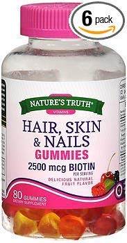 Nature's Truth Hair, Skin & Nails Gummies 2500 mcg Biotin Fruit Flavor - 80 ct, Pack of 6 by Nature's Truth