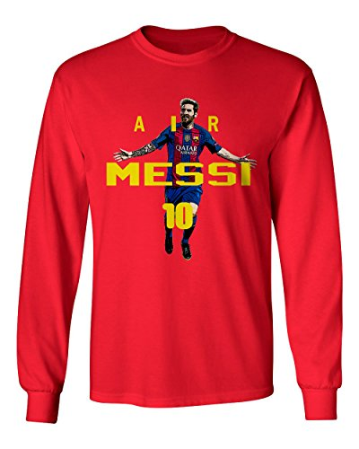 RED Lionel Messi FC Barcelona AIR Soccer Youth Boys Girls Long Sleeve T Shirt (Red,YM) (Fc Barcelona Kids Long Sleeve)