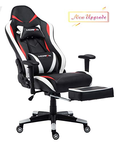 Morfan Executive Swivel Gaming Chair Leather Racing Style High-Back Office Chair with Lumbar Massager Support and Retractable Footrest (Black/Red/White) …