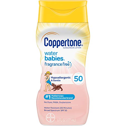 Coppertone Pure & Simple Baby SPF 50 Sunscreen Lotion, Tear Free, Water Resistant, #1 Pediatrician Recommended brand, Plus 100% Natural Botanicals, Broad Spectrum UVA/UVB Protection, 6 Ounce