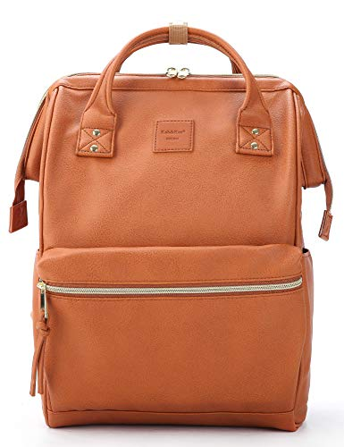 Cognac Brown Leather Backpack Diaper Bag with Laptop Compartment Travel School for Women Man
