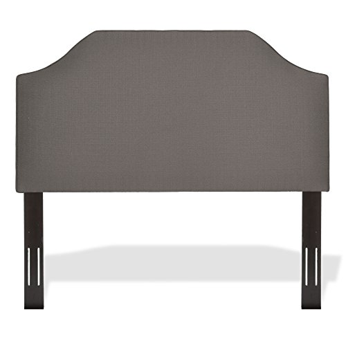 Fashion Bed Group Bordeaux Upholstered Adjustable Headboard Panel with Solid Wood Frame and Sweeping Curve Design, Dolphin Finish, King/California King (Fashion Bed Group Modern Headboard)